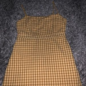 Thin strap, yellow plaid summer dress from UO